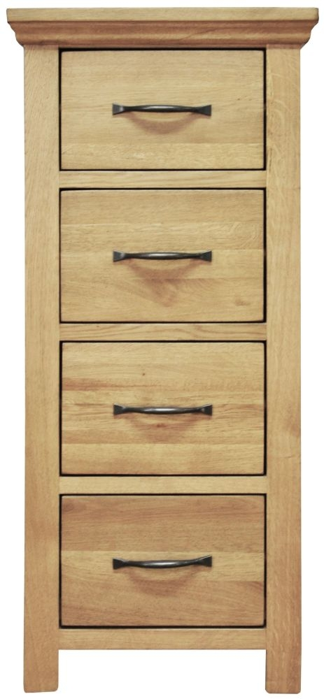 Weardale Oak Chest of Drawer - 4 Drawer Narrow
