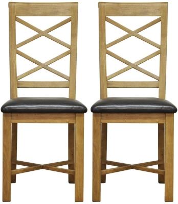 Weardale Oak Dining Chair - Double Cross Back Faux Leather Seat (Pair)