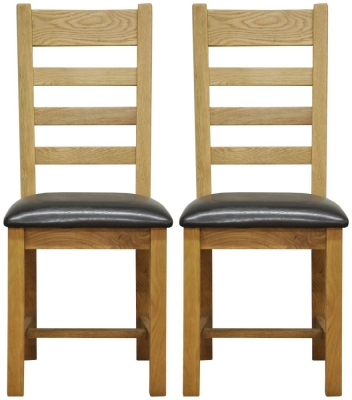 Weardale Oak Dining Chair - Ladder Back Faux Leather Seat (Pair)