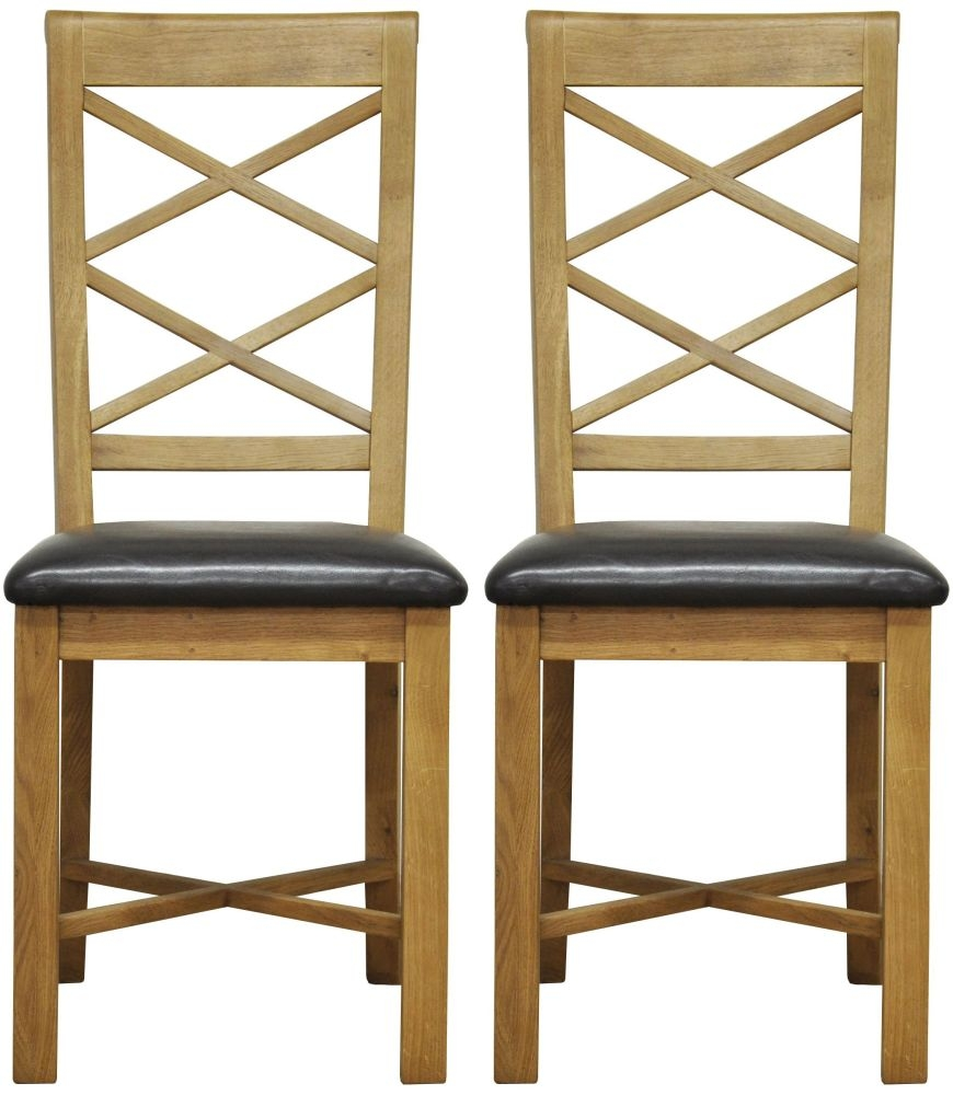 Weardale Oak Dining Chair - Double Cross Back Faux Leather Seat (Pair)