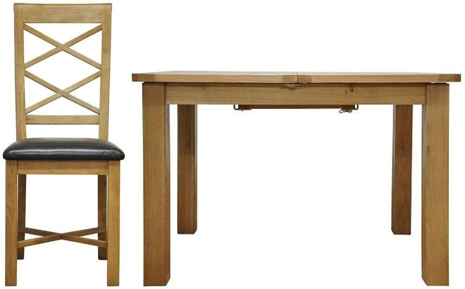 Weardale Oak Dining Set - 1.15m Butterfly with 4 Double Cross Back Chairs