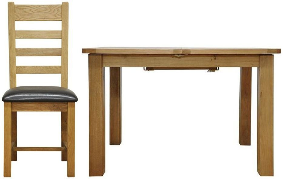 Weardale Oak Dining Set - 1.15m Butterfly with 4 Ladder Back Chairs