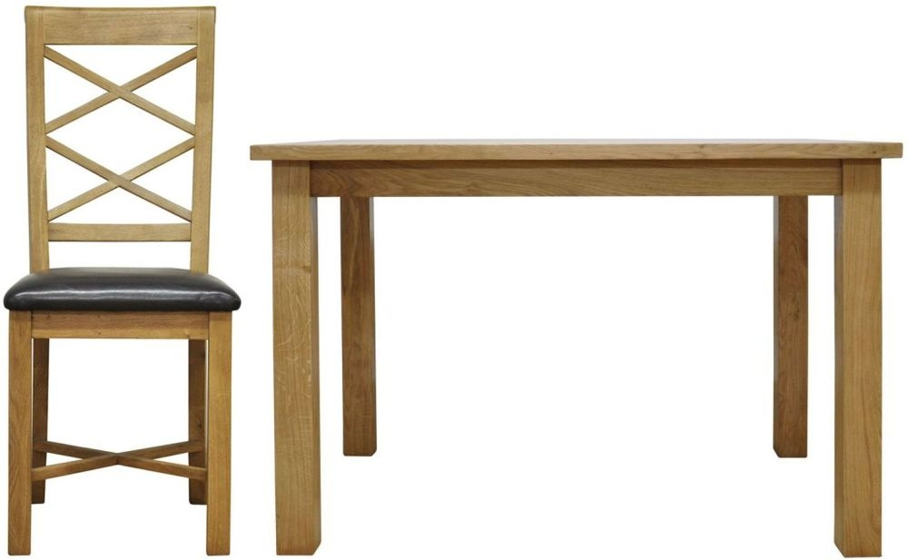 Weardale Oak Dining Set - Large Fixed Top with 6 Double Cross Back Chairs