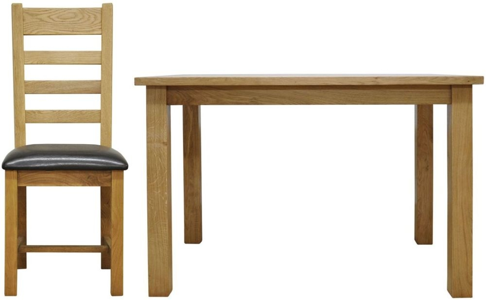Weardale Oak Dining Set - Large Fixed Top with 6 Ladder Back Chairs