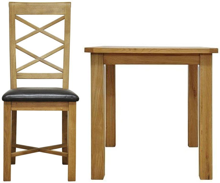 Weardale Oak Dining Set - Small Fixed Top with 4 Double Cross Back Chairs