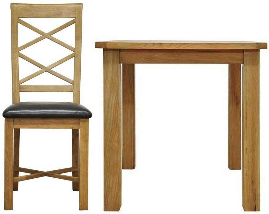 Weardale Oak Dining Set - Small Fixed Top with 4 Ladder Back Chairs