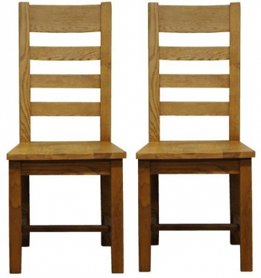 Wilton Oak Chair - Ladder Back Wooden Seat (Pair)