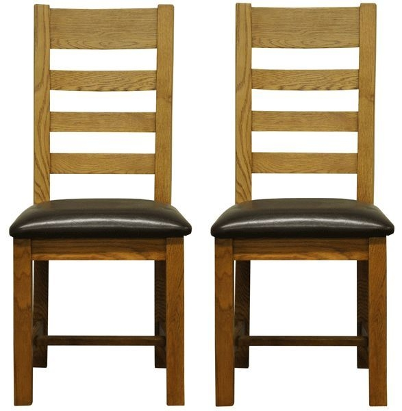 Wilton Oak Chair - Ladder Back Faux Leather Seat (Pair)