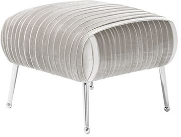 Serene Aaliyah Grey Velvet Fabric Stool