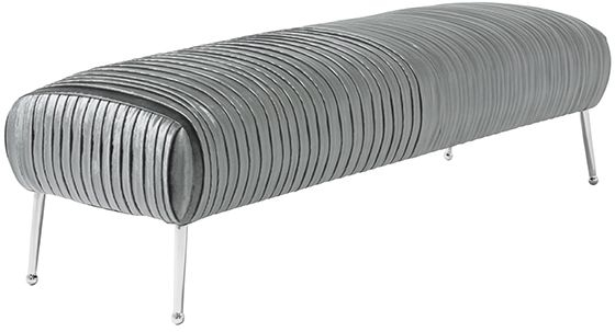 Serene Aaliyah Charcoal Velvet Fabric Bench