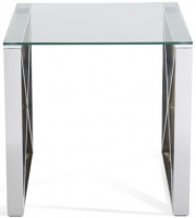 Serene Astra Stainless Steel and Glass Lamp Table