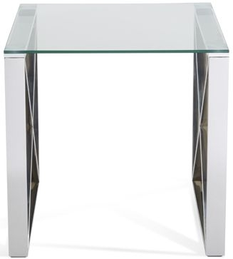 Serene Astra Lamp Table - Glass and Chrome