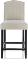 Serene Larch Mink Fabric Barstool with Black Legs (Set of 2)