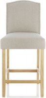 Serene Larch Mink Fabric Barstool with Oak Legs (Set of 2)