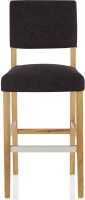 Serene Linnaea Aubergine Fabric Barstool with Oak Legs (Set of 2)