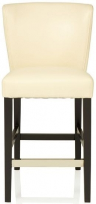 Serene Holly Cream Faux Leather and Black Barstool