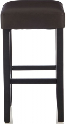 Serene Lantana Brown Faux Leather Barstool with Black Legs (Set of 2)