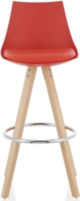 Serene Lotus Red Barstool with Oak Legs (Set of 2)