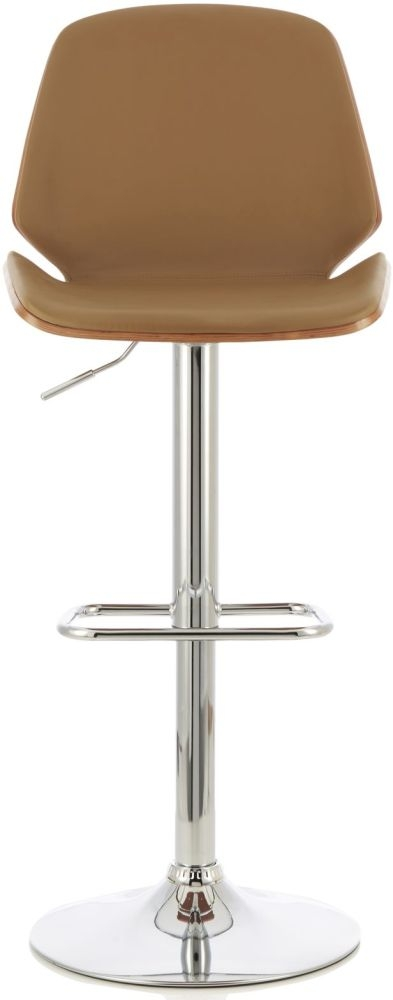 Serene Fabio Beige Faux Leather and Walnut Swivel Bar Stool