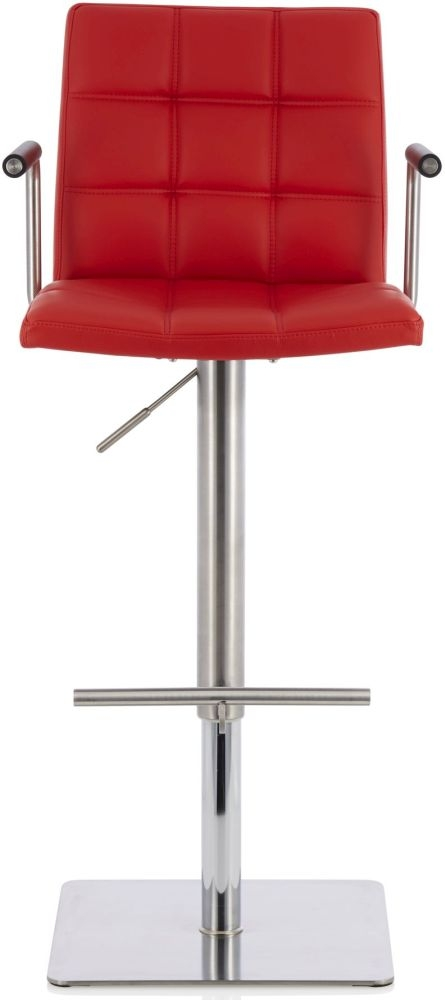 Serene Jonquil Red Faux Leather Swivel Bar Stool