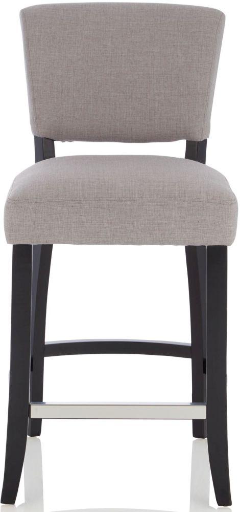 Serene Kennedia Grey Fabric Barstool with Black Legs (Set of 2)