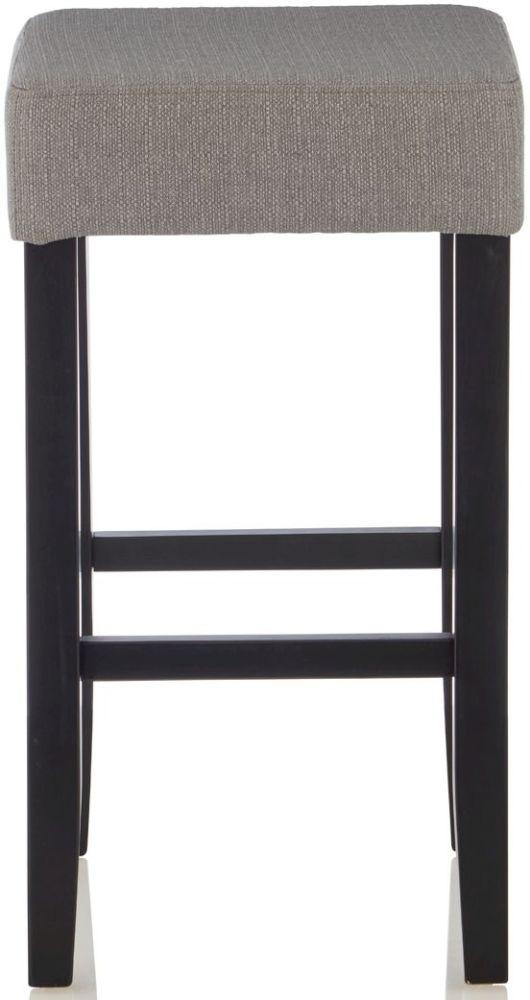 Serene Lantana Light Grey Fabric Barstool with Black Legs (Set of 2)