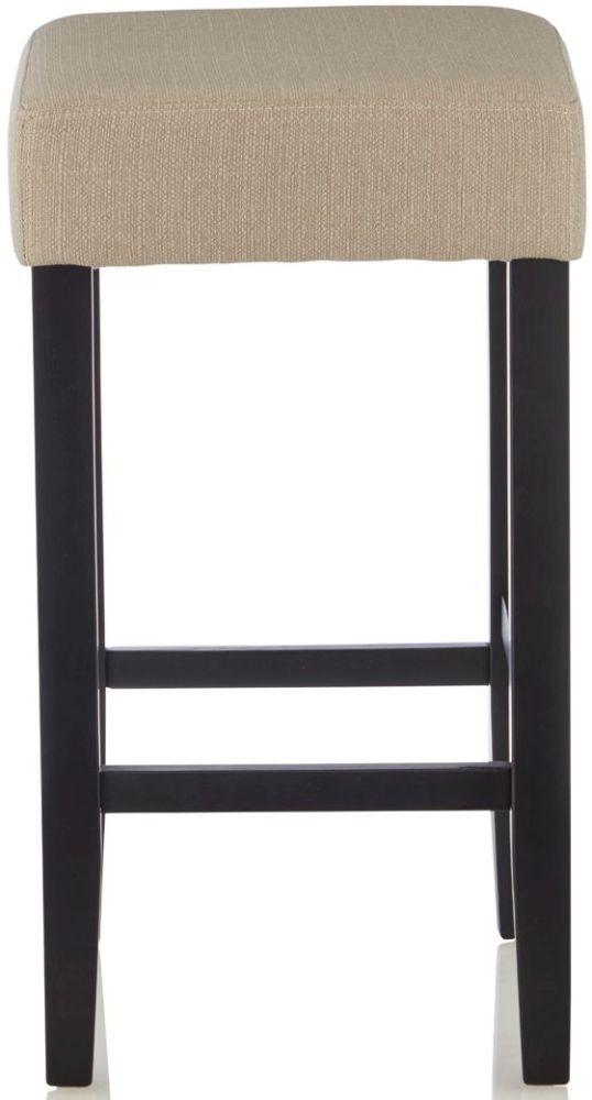 Serene Lantana Mink Fabric Barstool with Black Legs (Set of 2)