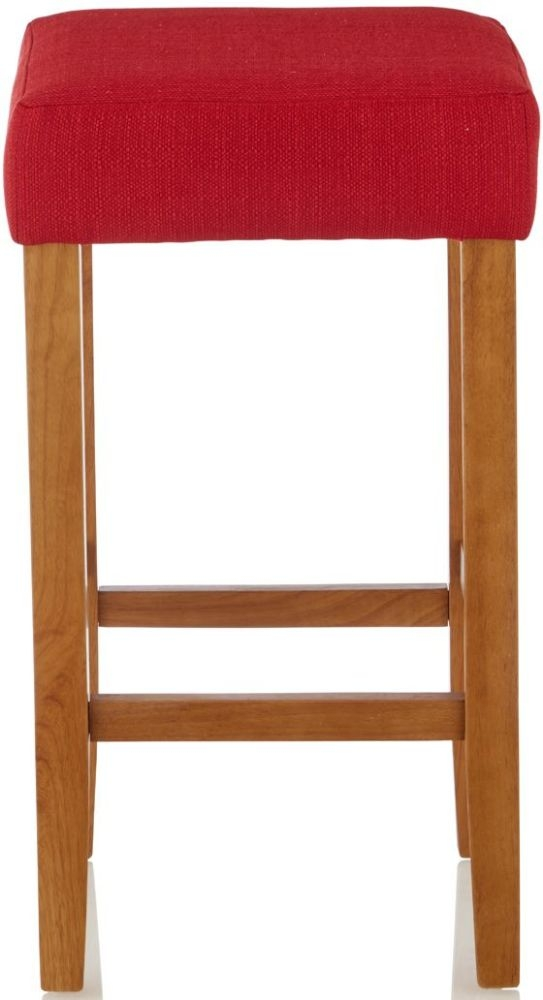Serene Lantana Red Fabric Barstool with Oak Legs (Set of 2)