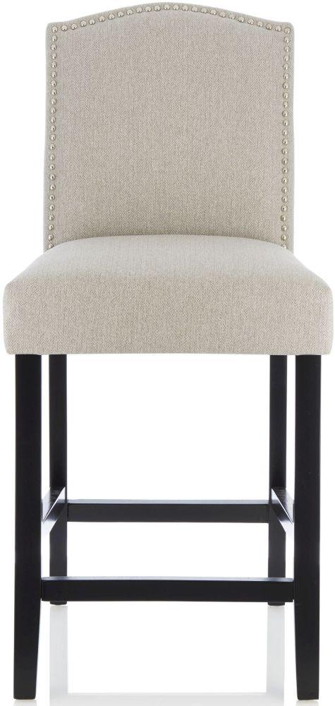Serene Larch Mink Fabric Barstool with Black Legs (Set of 2)