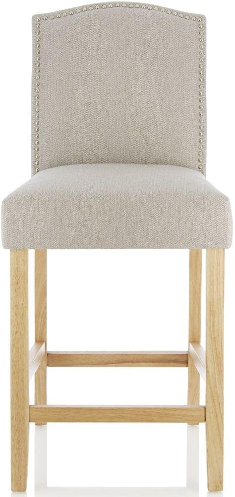 Serene Larch Mink Fabric Barstool with Oak Legs (Set of 2)