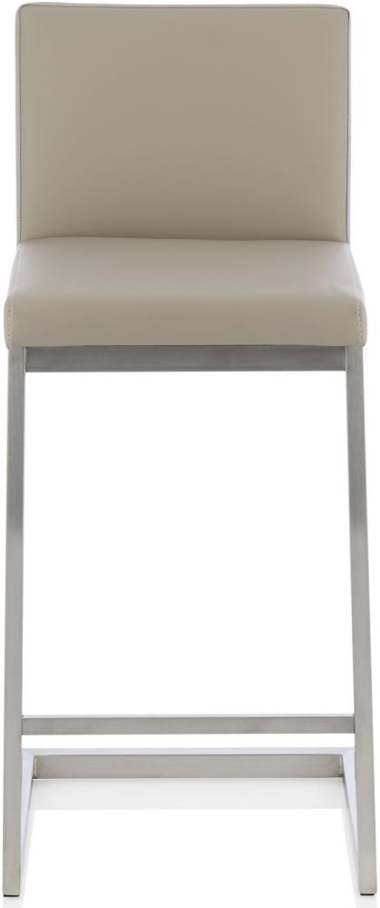 Serene Linden Taupe Faux Leather Barstool (Set of 2)