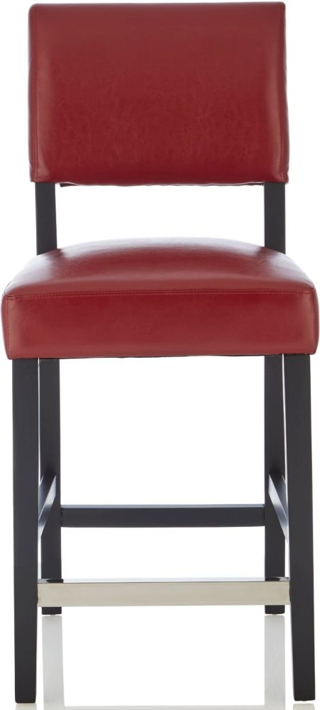 Serene Linnaea Red Faux Leather Barstool with Black Legs (Set of 2)
