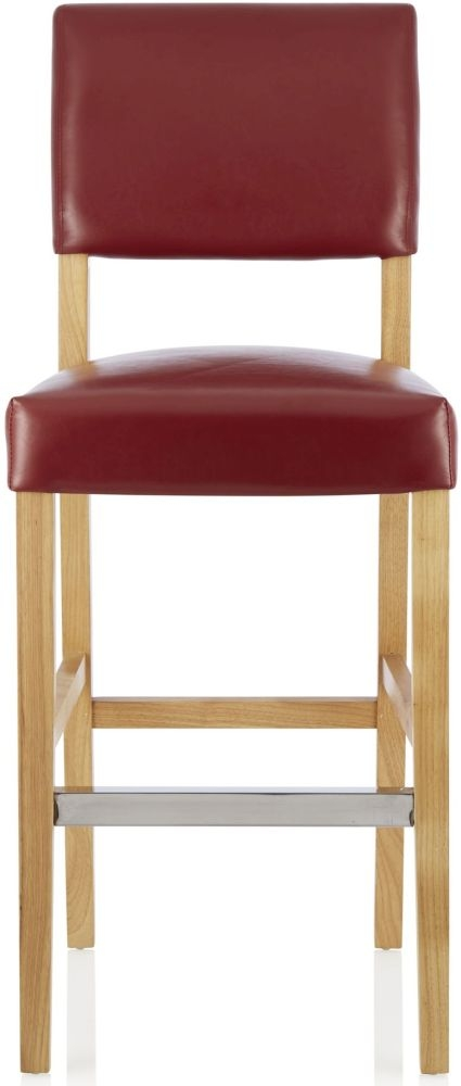 Serene Linnaea Red Faux Leather Barstool with Oak Legs (Set of 2)