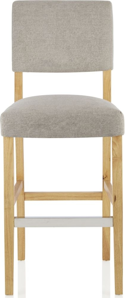 Serene Linnaea Silver Fabric Barstool with Oak Legs (Set of 2)