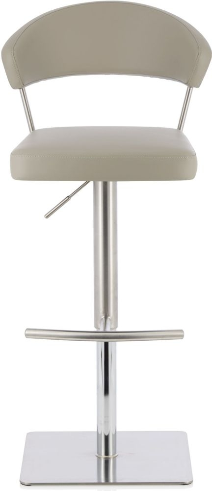 Serene Lucerne Taupe Faux Leather Swivel Bar Stool