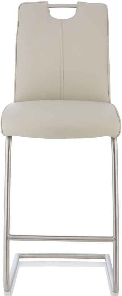 Serene Mimosa Taupe Faux Leather Barstool (Set of 2)