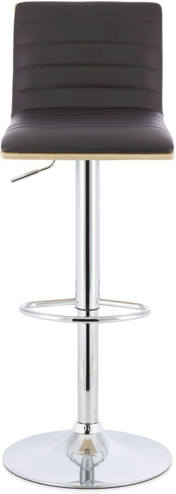 Serene Molly Brown Faux Leather and Oak Swivel Bar Stool (Set of 2)