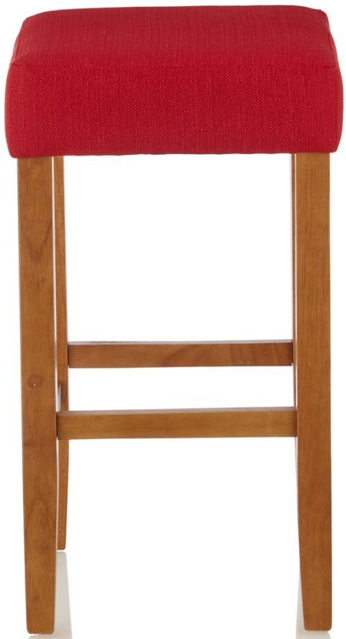 Serene Lantana Red Faux Leather Barstool with Oak Legs (Set of 2)