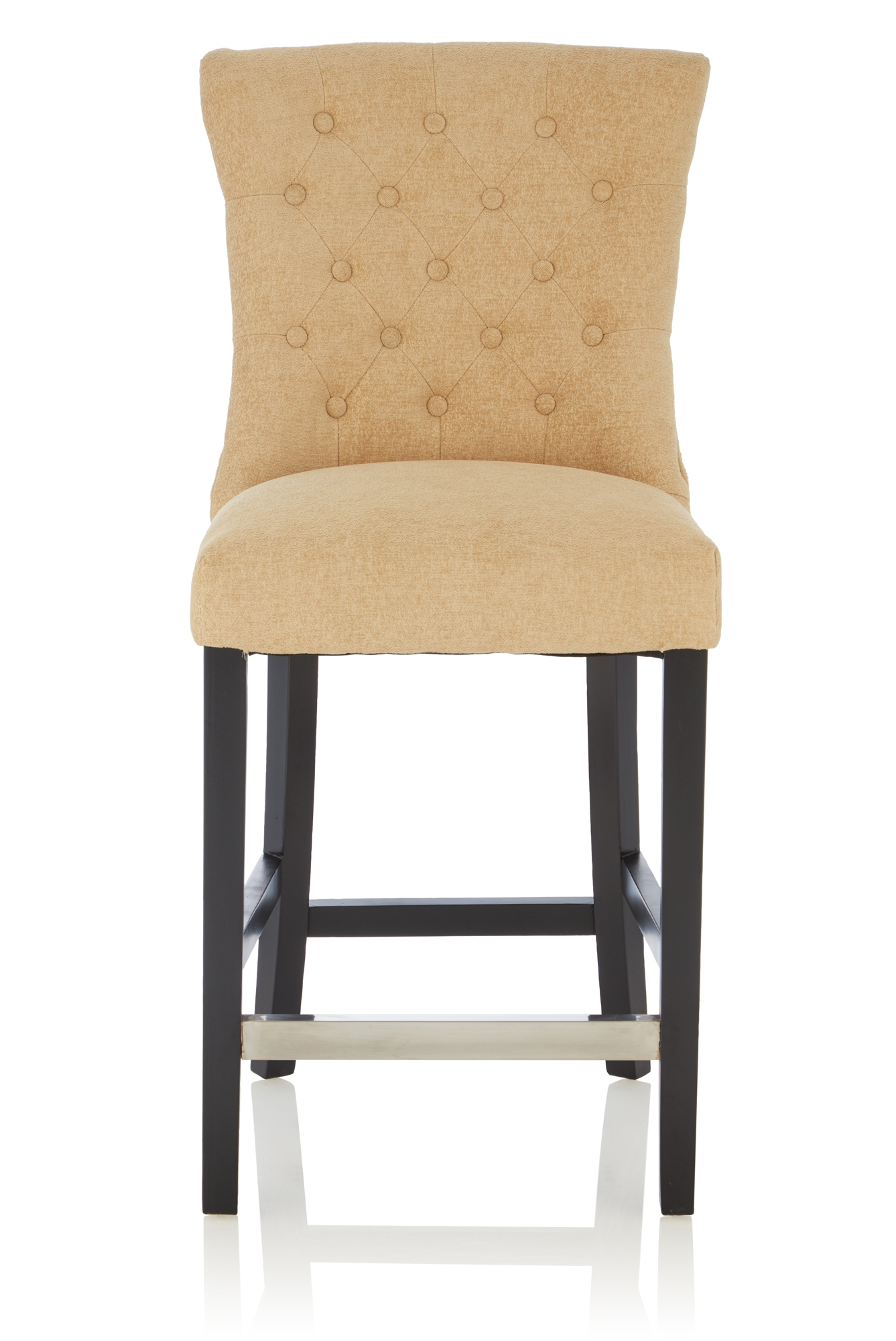 Serene Valerian Oatmeal Fabric Barstool with Black Legs (Set of 2)