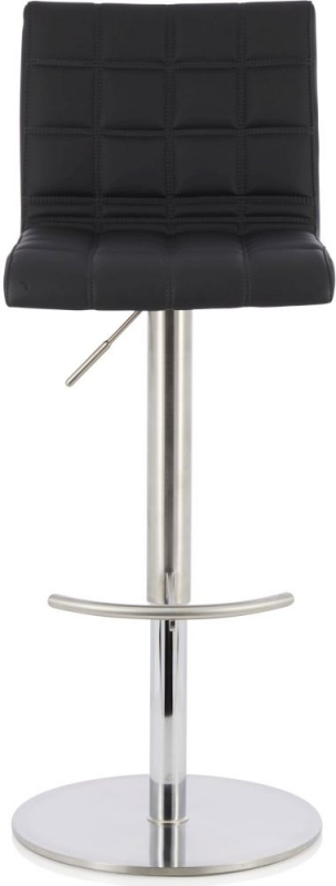 Serene Bryony Black Faux Leather Swivel Bar Stool