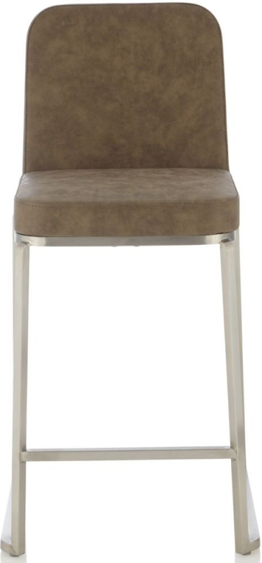 Serene Daphne Retro Taupe Faux Leather Barstool (Set of 2)