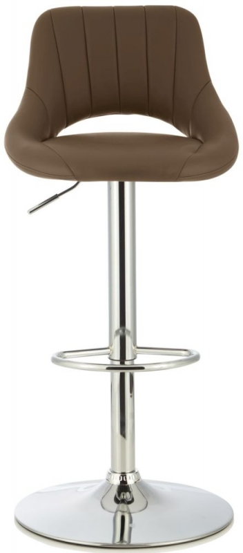 Serene Elm Cuppucino Faux Leather Swivel Bar Stool (Set of 2)