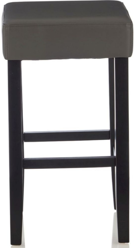 Serene Lantana Grey Faux Leather Barstool with Black Legs (Set of 2)