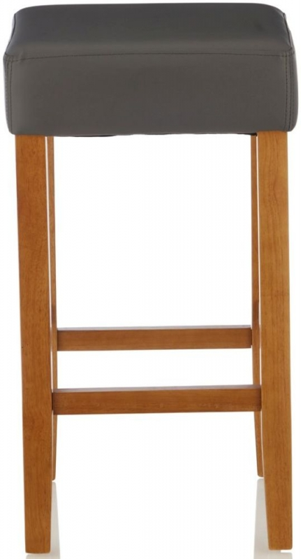 Serene Lantana Grey Faux Leather Barstool with Oak Legs (Set of 2)