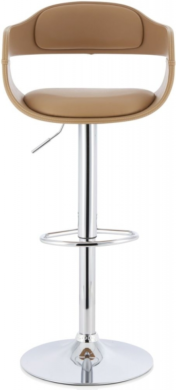 Serene Maple Taupe Faux Leather Swivel Bar Stool
