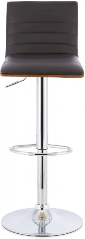 Serene Molly Brown Faux Leather and Walnut Swivel Bar Stool (Set of 2)