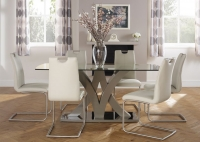 Serene Barcelona Taupe Glass Top Dining Table and 6 Malaga Chairs