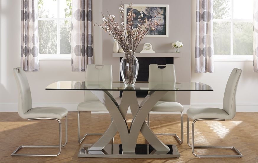 Serene Barcelona Black High Gloss Rectangular Glass Top Dining Set with 4 Malaga Taupe Chairs - 180cm