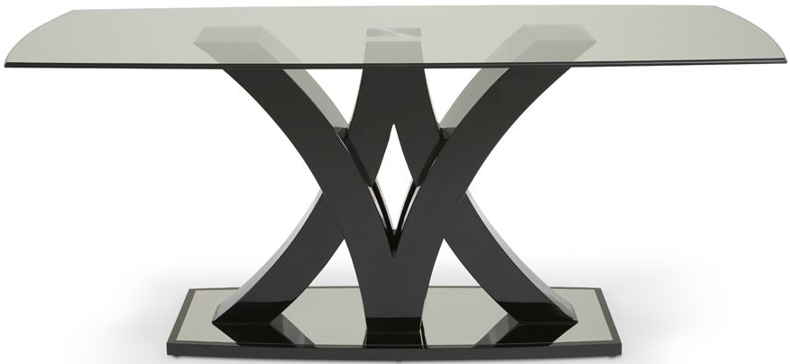 Serene Barcelona Black High Gloss Rectangular Glass Top Dining Table - 180cm