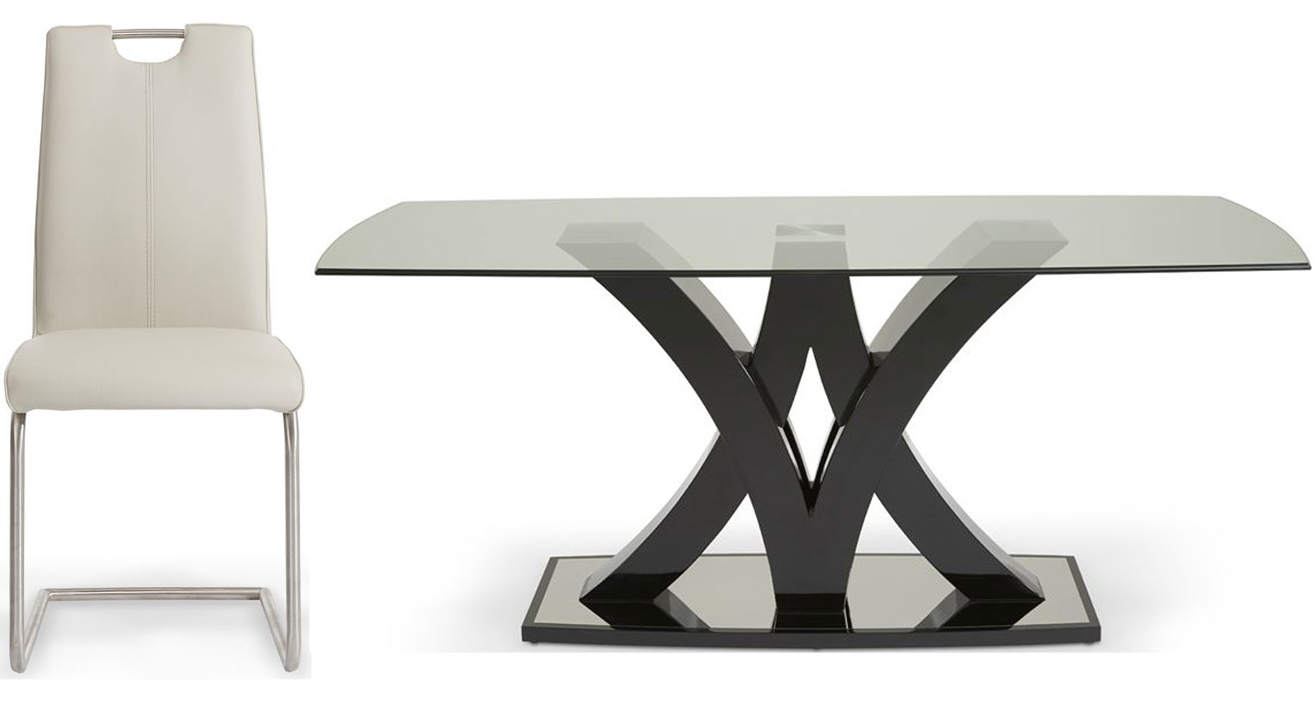 Serene Barcelona Glass Dining Table and 4 Malaga Chairs - Black and Taupe Faux Leather